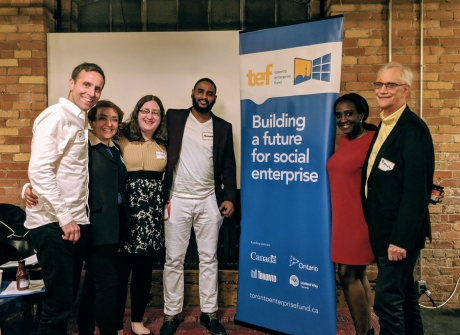 Winners of the Women's Employment Social Enterprise, Michelle McCagherty, Byron Gray and Tomi Gbeleyi, pictured with Anne Jamieson, Senior Manager of the Toronto Enterprise Fund (centre left)